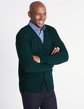 Pure Lambswool Cardigan, DARK EVERGREEN, catlanding