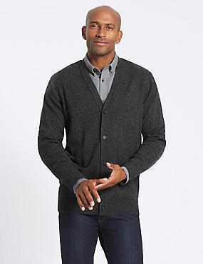 Pure Lambswool Cardigan, DARK GREY MIX, catlanding