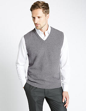 Pure Lambswool Slipover Jumper, MID GREY, catlanding