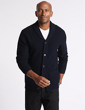 Lambswool Rich Textured Cardigan, NAVY, catlanding