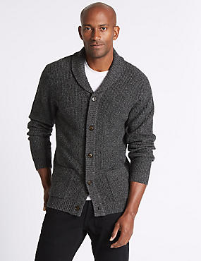Lambswool Rich Textured Cardigan, GREY MIX, catlanding