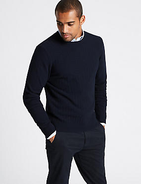 Wool Rich Textured Jumper, NAVY MIX, catlanding