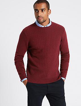 Wool Rich Textured Jumper, BURGUNDY, catlanding