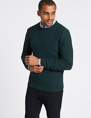 Wool Rich Textured Jumper, DARK TEAL, catlanding