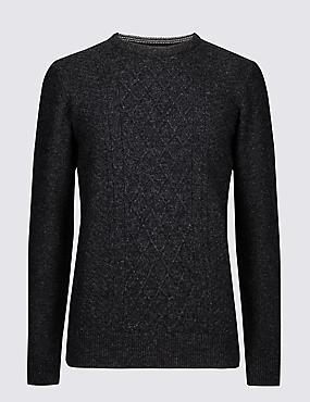 Wool Rich Textured Jumper, CHARCOAL, catlanding
