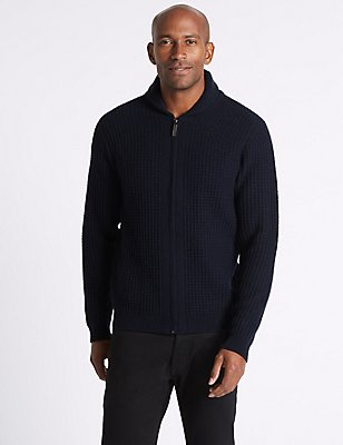 Wool Rich Zipped Through Cardigan, NAVY, catlanding