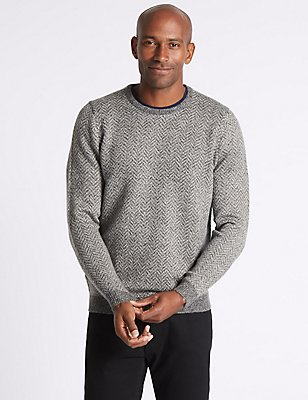 Wool Blend Textured Crew Neck Jumper, GREY MIX, catlanding