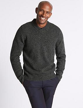 Wool Rich Textured Jumper, GREEN MIX, catlanding