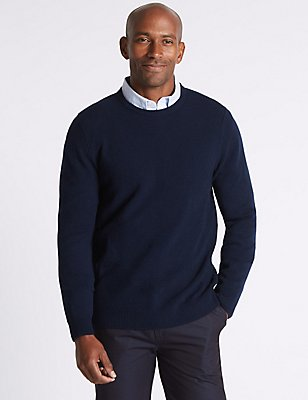 Pure Lambswool Argyle Crew Neck Jumper, NAVY, catlanding