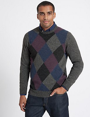 Wool Rich Argyle Crew Neck Jumper, PURPLE MIX, catlanding
