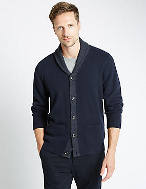 Lambswool Rich Shawl Collar Cardigan, NAVY, catlanding