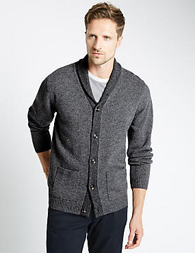 Lambswool Rich Shawl Collar Cardigan, GREY MIX, catlanding