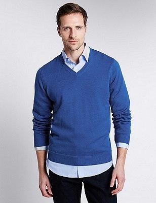 Pure Cotton V-Neck Jumper, BLUE, catlanding