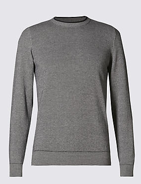 Pure Cotton Crew Neck Gauge Piqué Jumper