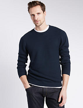 Pure Cotton Tailored Fit Ripple Stitched Jumper