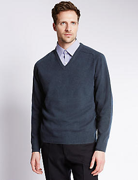 Pure Lambswool Jumper, NAVY, catlanding