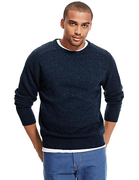Pure Lambswool Jumper, INDIGO MIX, catlanding