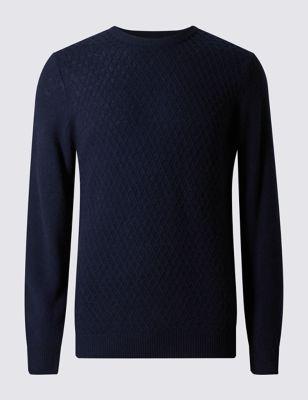 Джемпер из чистой шерсти с мелкой вязкой ромбом M&S Collection T302612M