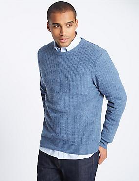 Pure Lambswool Textured Jumper, MID BLUE, catlanding
