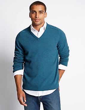 Extra Fine Pure Lambswool V-Neck Jumper, TURQUOISE MIX, catlanding