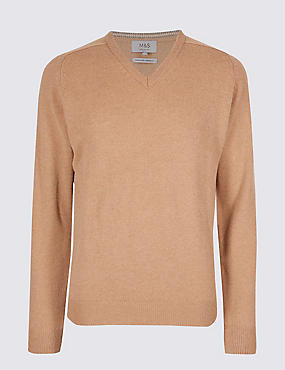 Pure Lambswool V-Neck  Jumper, CAMEL MIX, catlanding
