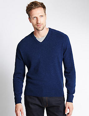 Extra Fine Pure Lambswool V-Neck Jumper, FRENCH NAVY, catlanding
