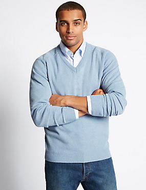 Extra Fine Pure Lambswool V-Neck Jumper, CHAMBRAY, catlanding