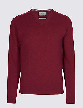 Pure Lambswool V-Neck  Jumper, MULBERRY, catlanding