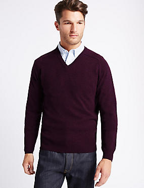 Pure Lambswool V-Neck  Jumper, MEDIUM GRAPE, catlanding