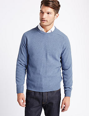 Pure Lambswool Crew Neck  Jumper, LIGHT BLUE MIX, catlanding
