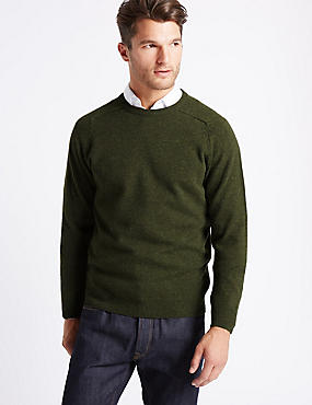Pure Lambswool Crew Neck  Jumper, BARK, catlanding
