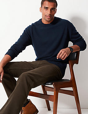 Pure Lambswool Crew Neck  Jumper, NAVY, catlanding