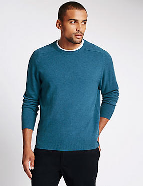 Pure Lambswool Crew Neck  Jumper, TURQUOISE MIX, catlanding