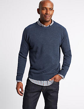 Pure Lambswool Crew Neck  Jumper, DENIM, catlanding