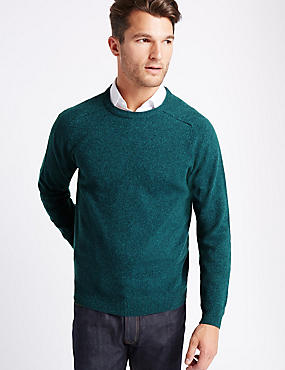 Pure Lambswool Crew Neck  Jumper, TEAL, catlanding