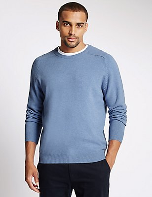 Pure Lambswool Crew Neck  Jumper, CHAMBRAY, catlanding