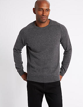 Pure Lambswool Crew Neck  Jumper, DARK GREY MIX, catlanding