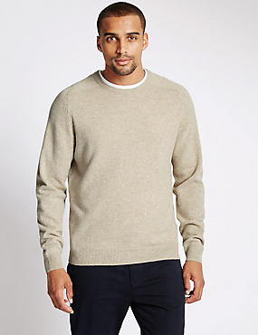 Extra Fine Pure Lambswool Crew Neck Jumper, WHITE MARL, catlanding