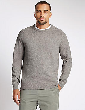 Pure Lambswool Crew Neck  Jumper, NATURAL MIX, catlanding