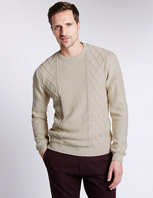 Pure Cotton Fisherman Cable Knit Jumper, WHITE MARL, catlanding