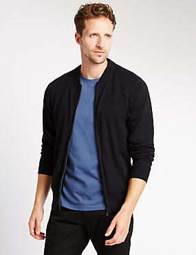 Pure Cotton Baseball Zip Through Cardigan, NAVY, catlanding