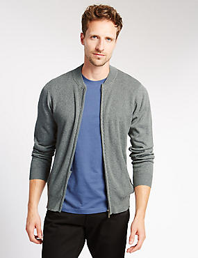 Pure Cotton Baseball Zip Through Cardigan, GREY MARL, catlanding