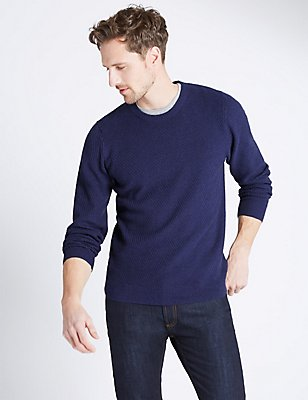 Pure Cotton Textured Jumper, ROYAL BLUE, catlanding