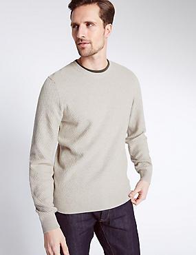 Strukturierter Pullover aus reiner Baumwolle, STEIN, catlanding