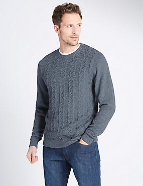 Pure Cotton Textured Jumper, DENIM MIX, catlanding