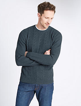 Pure Cotton Textured Jumper, TEAL MIX, catlanding