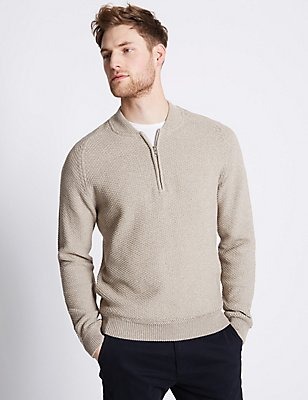 Pure Cotton Baseball Jumper, NATURAL MIX, catlanding