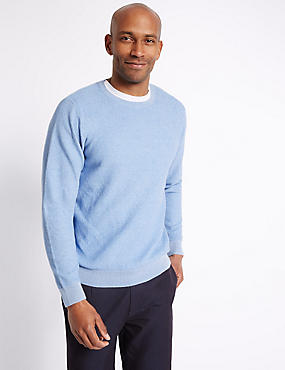 Pure Cotton Textured Jumper, ICE BLUE, catlanding