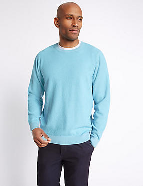 Pure Cotton Textured Jumper, AQUA, catlanding