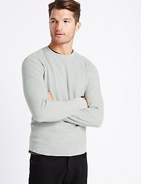 Pure Cotton Textured Crew Neck, NATURAL MIX, catlanding